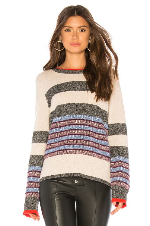 White + Warren Jacquard Striped Crewneck Sweater