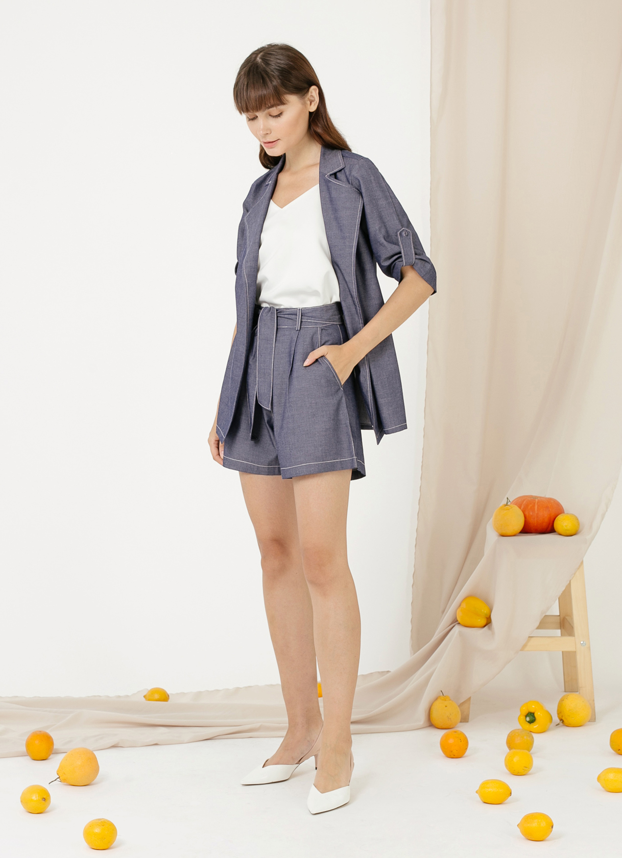 CLOTH INC Luke Oversized Outer - Chambray Blue