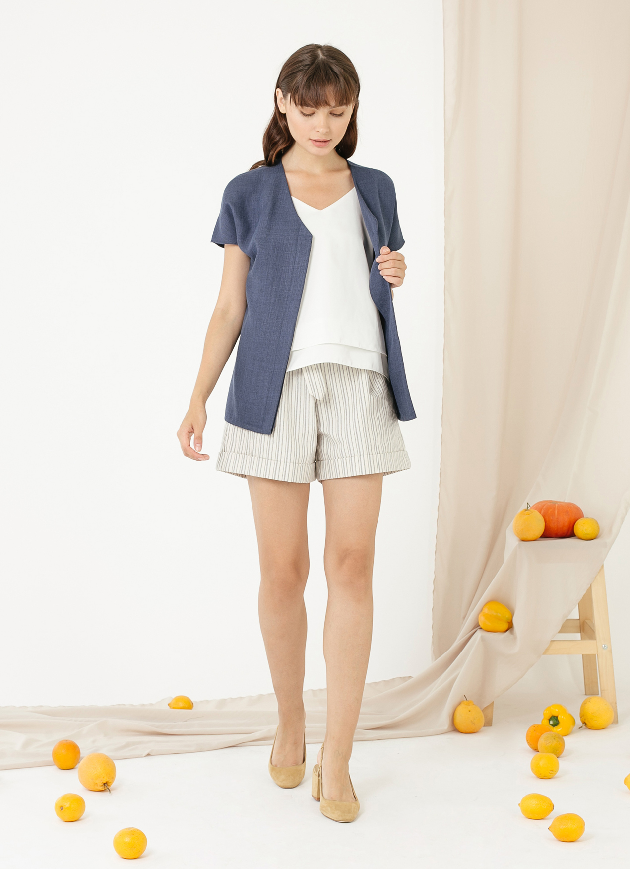 CLOTH INC Cava Linen Top - Navy