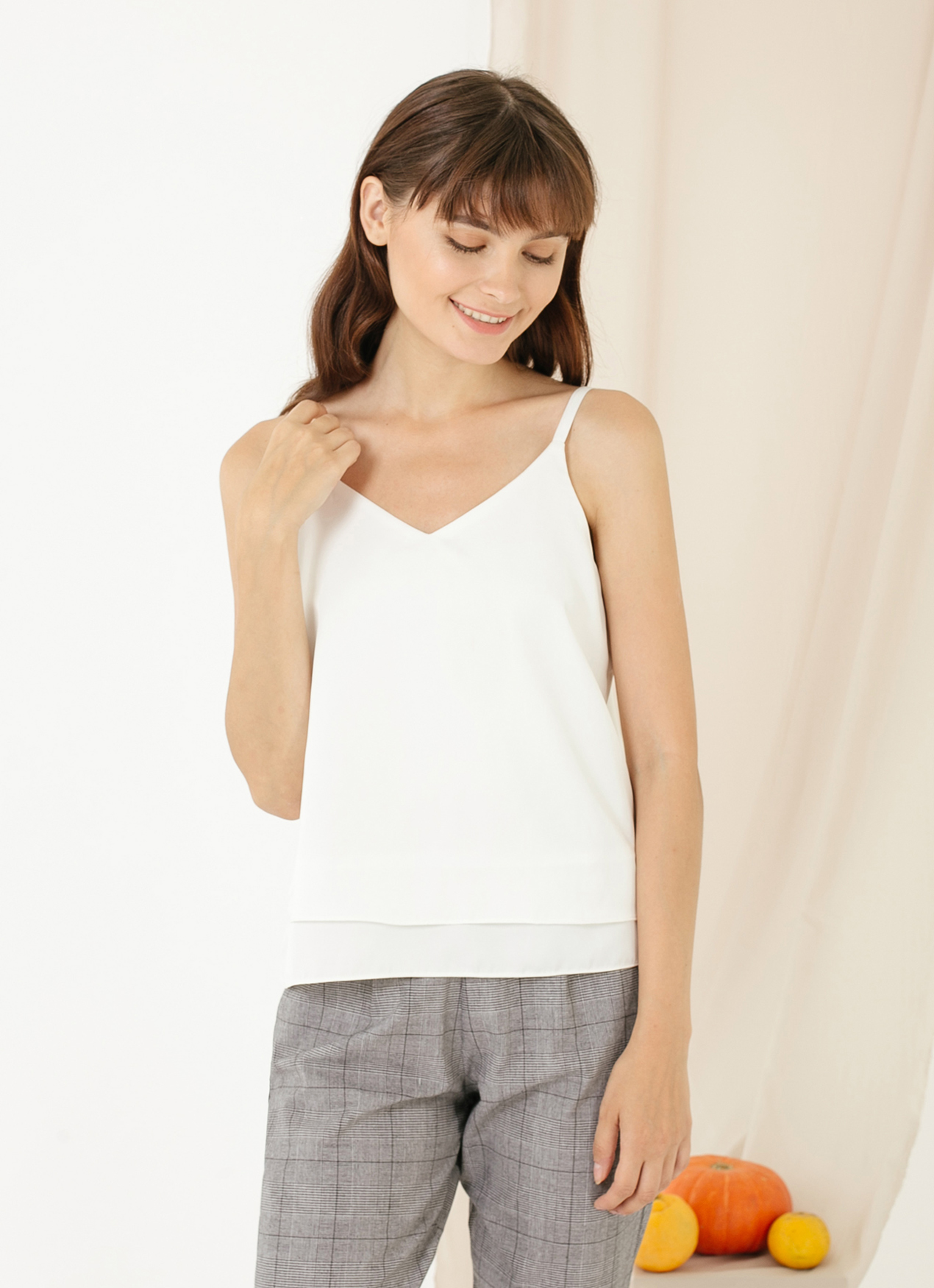 CLOTH INC Basic Double Layered Tank - White