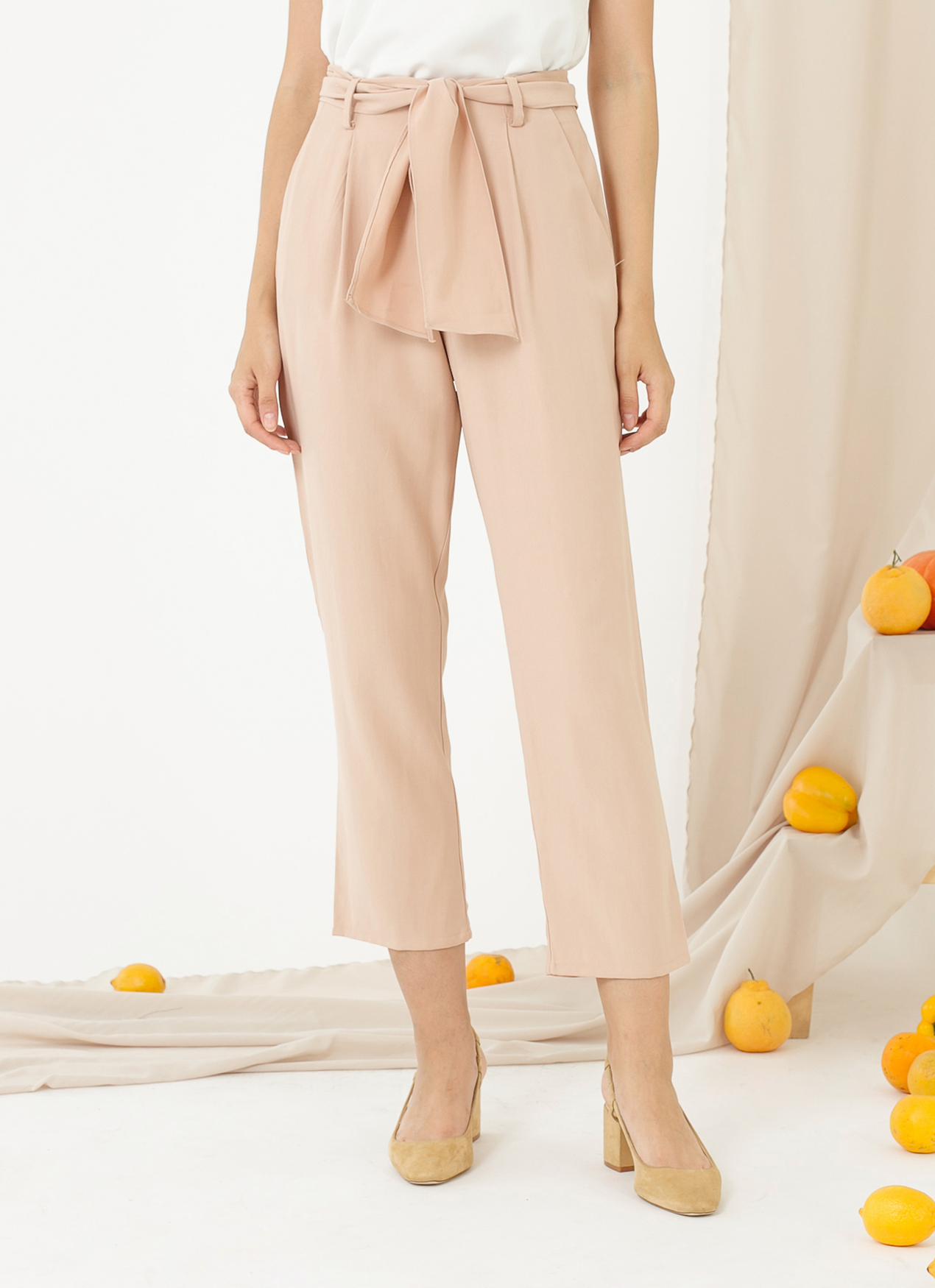 CLOTH INC Belted Piper Pants - Nude Pink