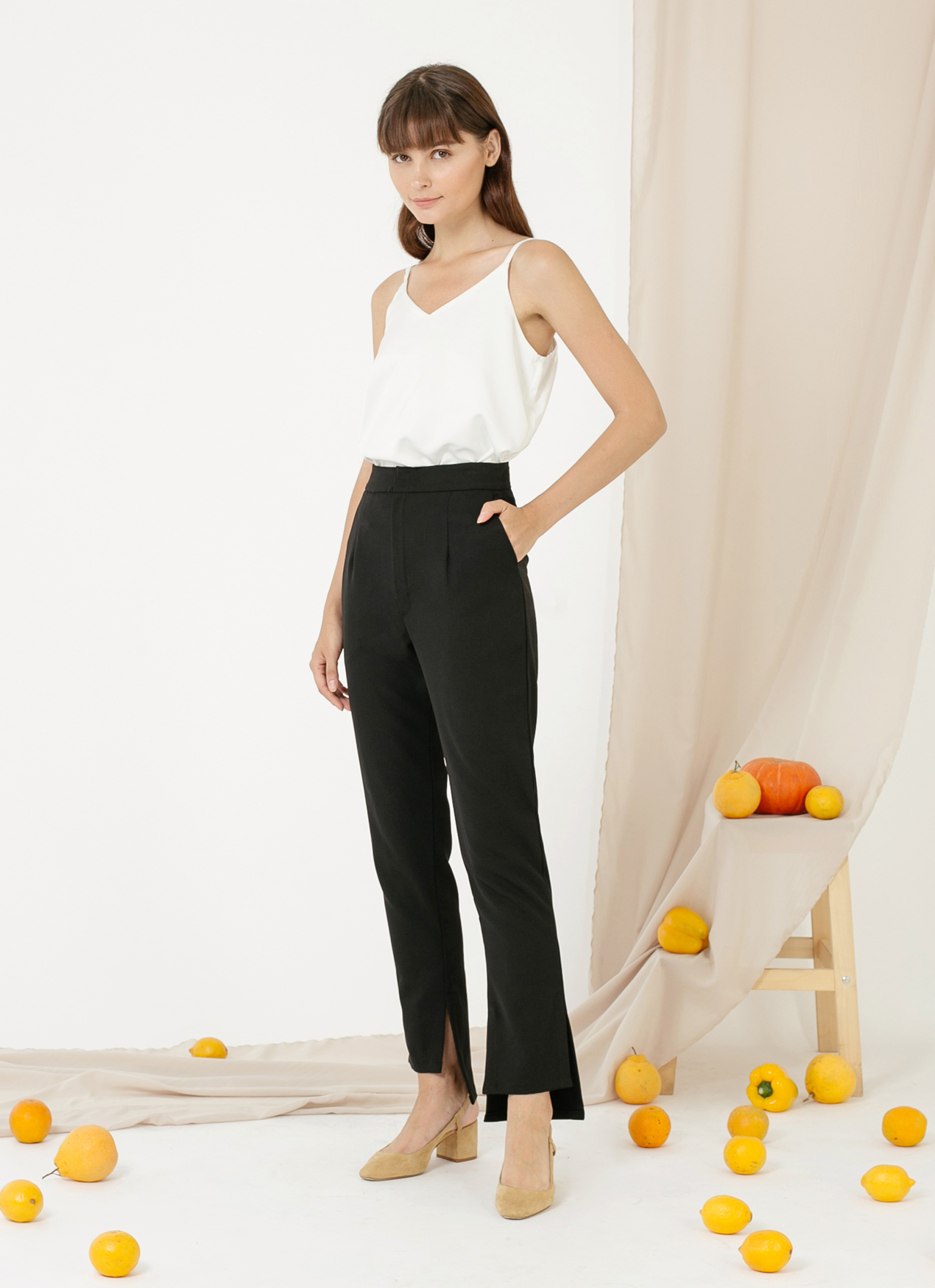 CLOTH INC Picolo Slit Pants - Black