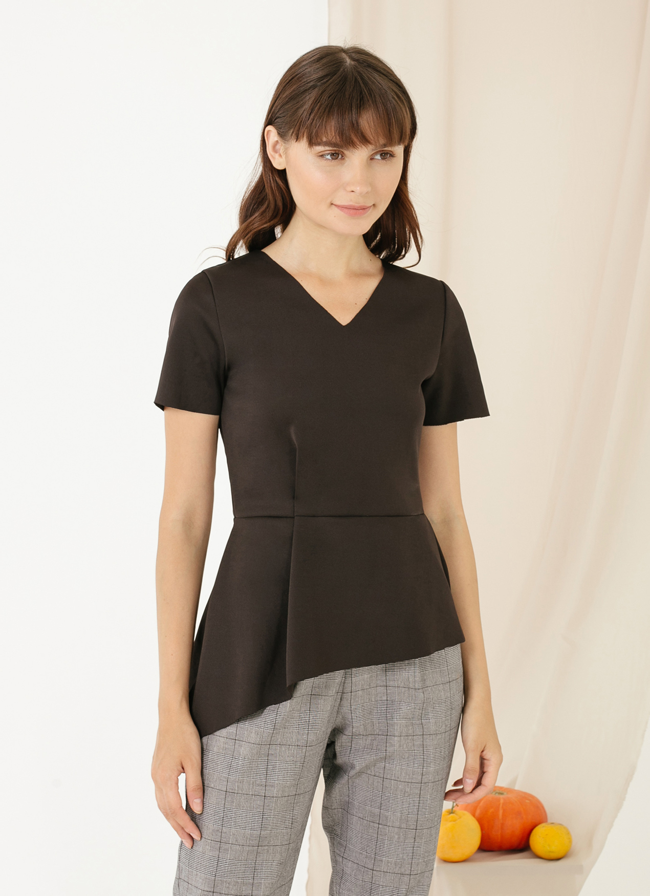 CLOTH INC Gal Scuba Peplum Top - Black