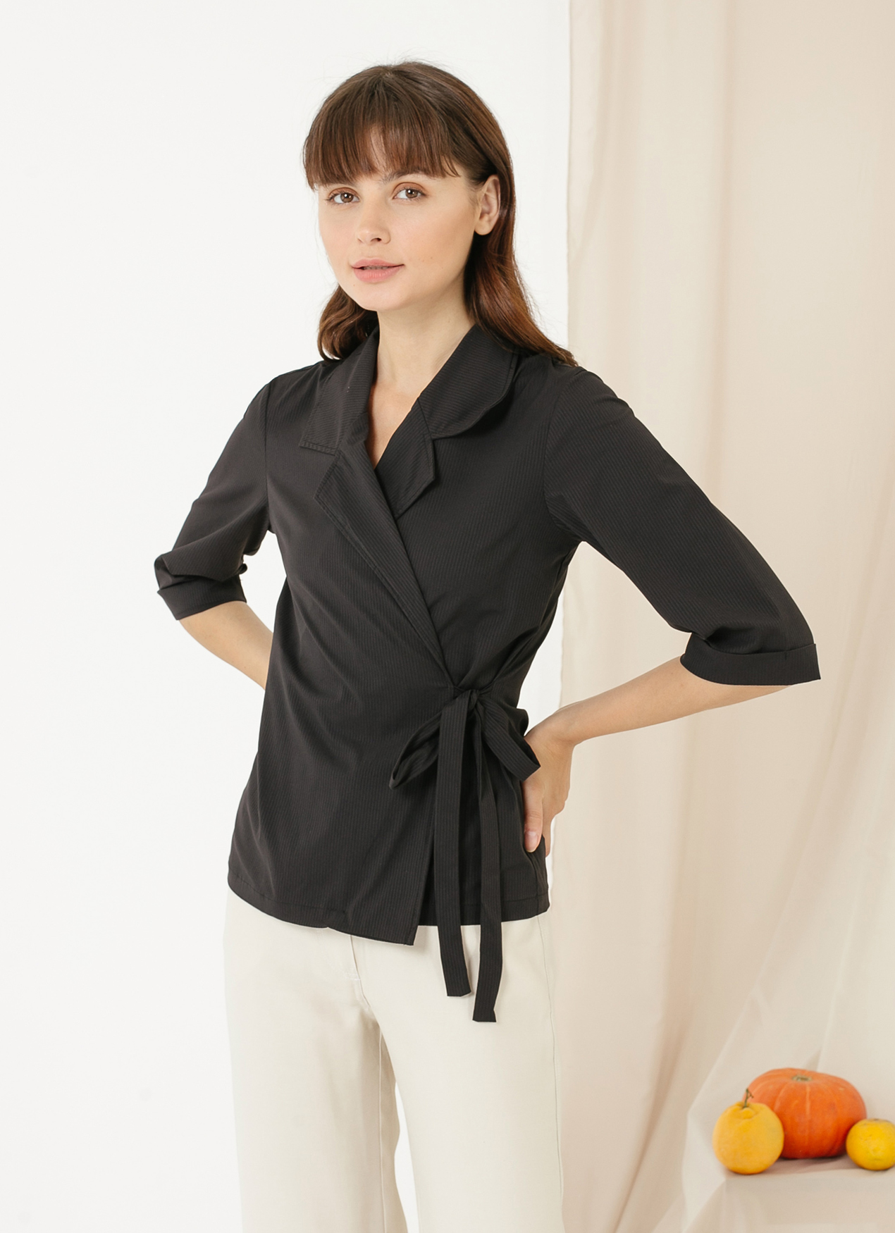 CLOTH INC Terry Kimono Tied Top - Black Stripe