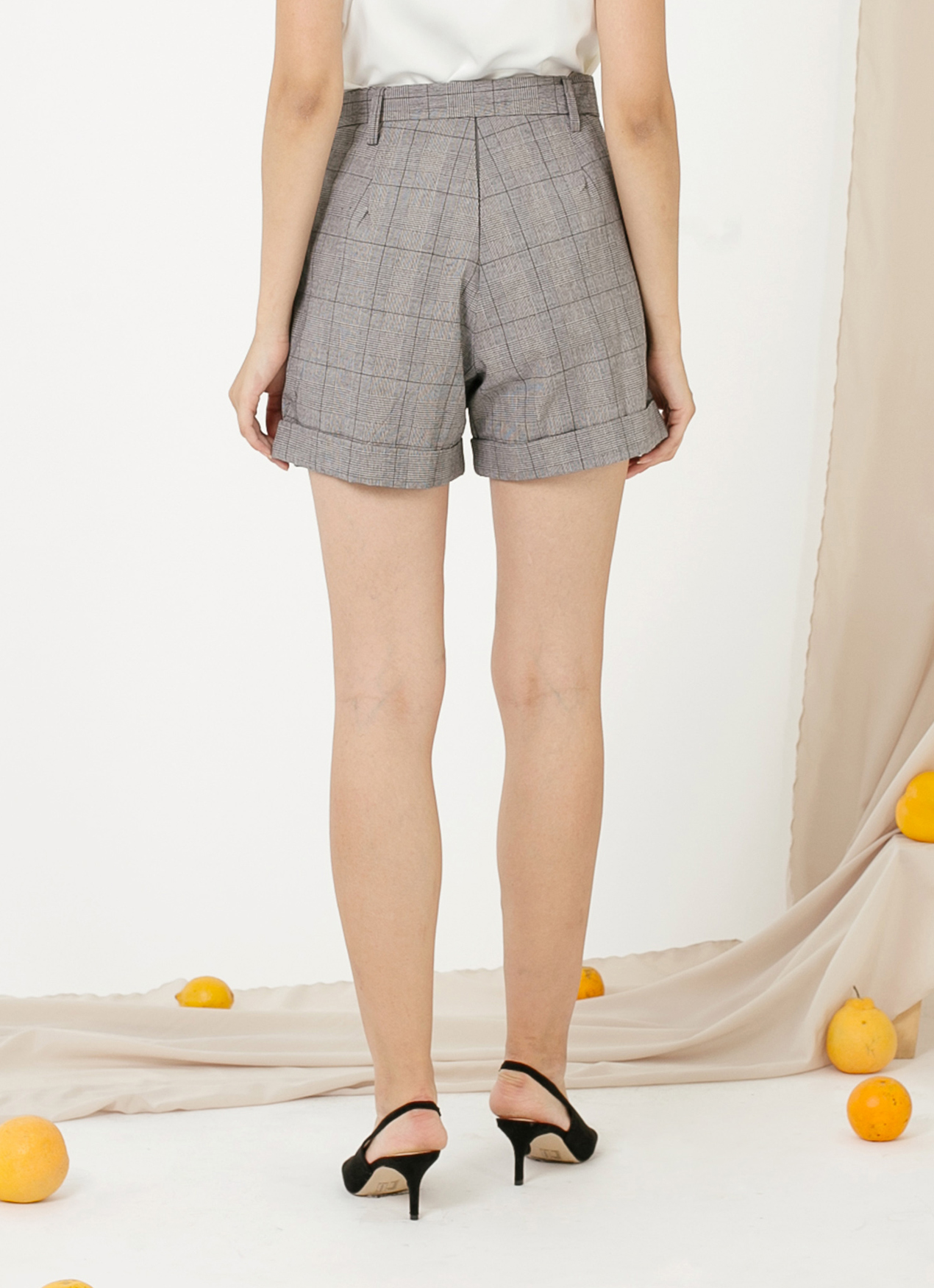 CLOTH INC Dorene Shorts - Checkered Gray