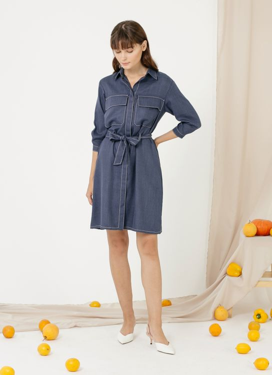 CLOTH INC Contrast Stitch Shirt Dress - Navy