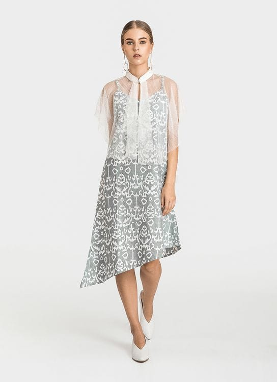 Warangka Batik July Asymmetric Tulle Dress - Gray