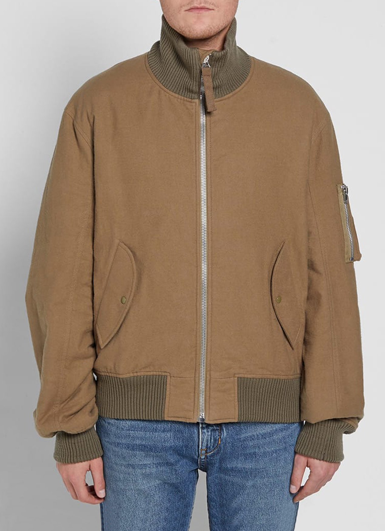 59993a1d0 Brown Re-Edition High Collar Bomber Jacket, Helmut Lang