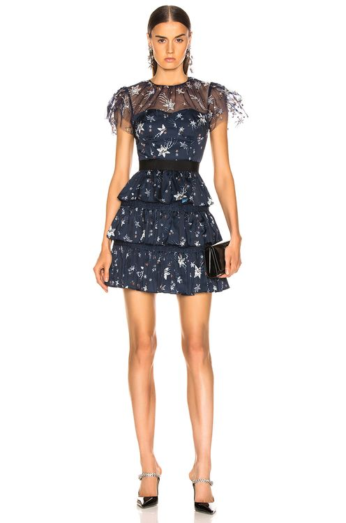 Self Portrait Tiered Star Mesh Printed Mini Dress