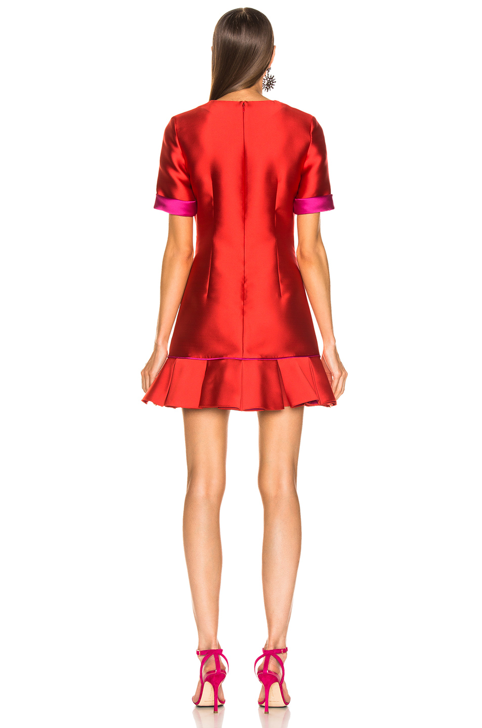 Brandon Maxwell Ruffle Hem Dress