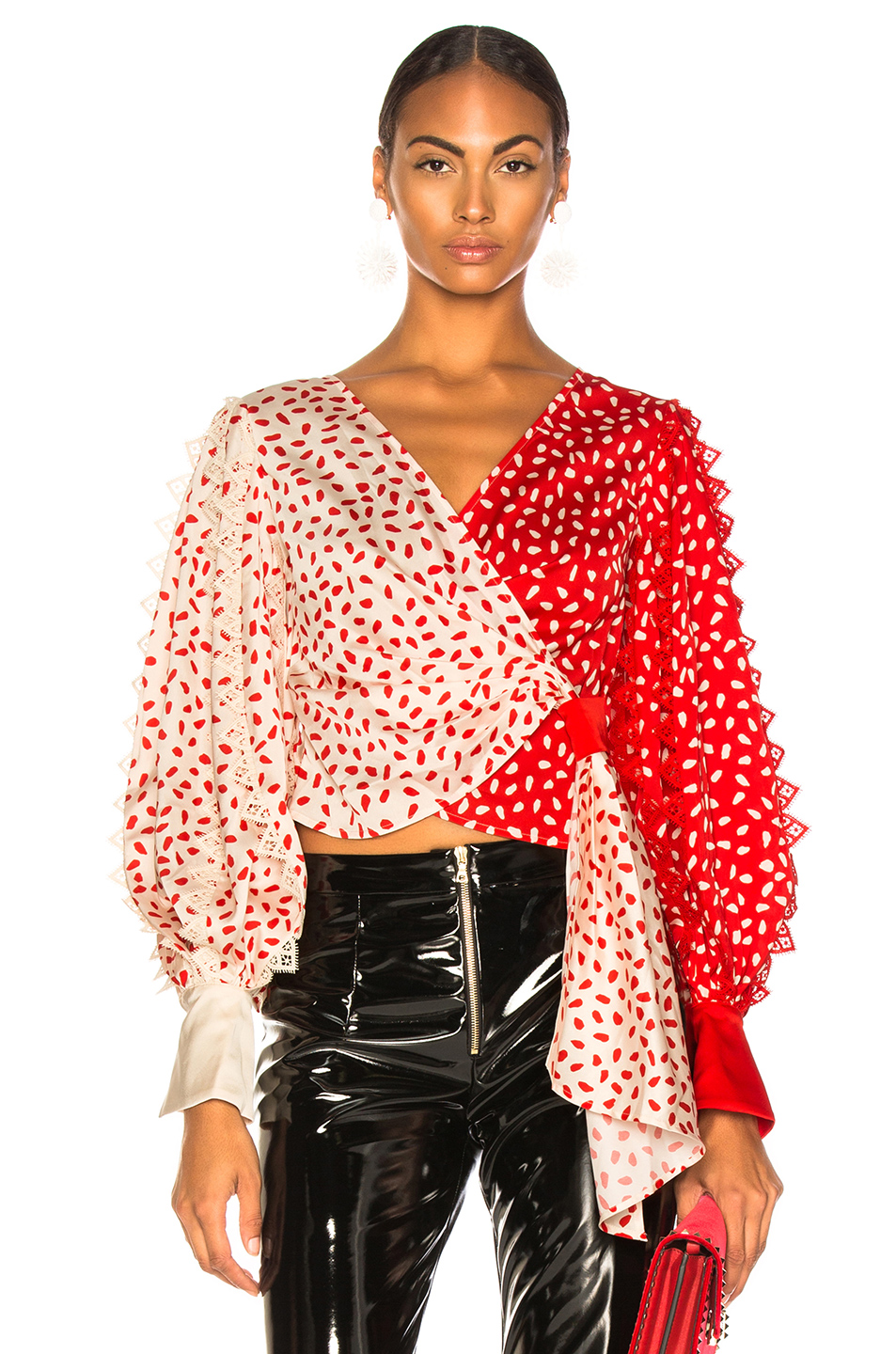 self-portrait Satin Printed Wrap Top
