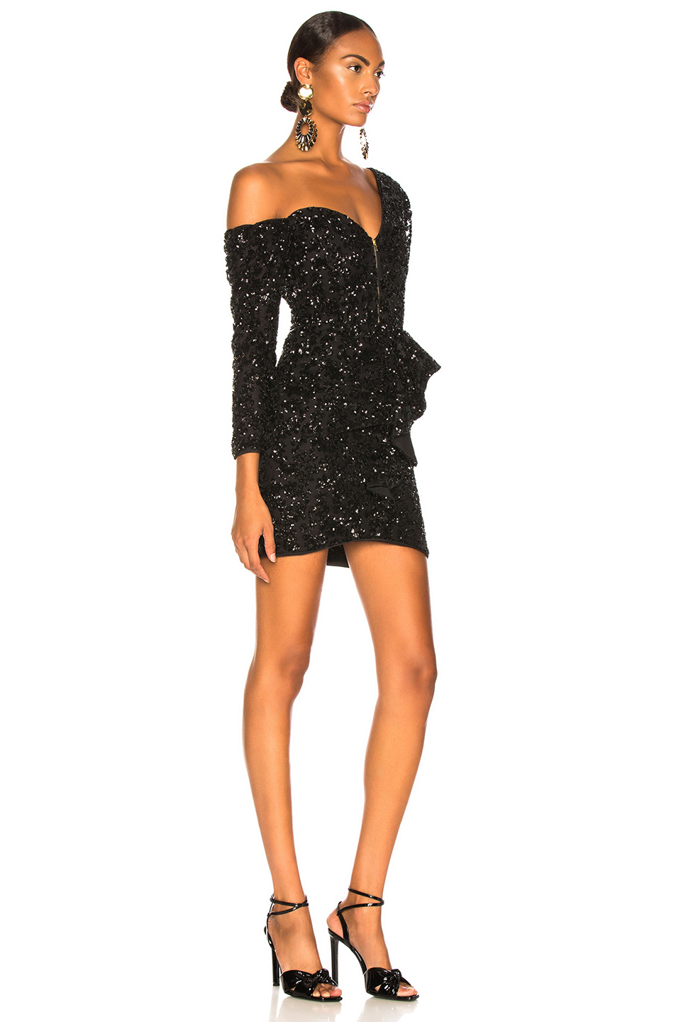 self-portrait Sequin Ruffle Mini Dress