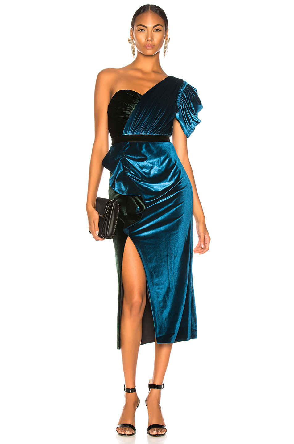 self-portrait One Shoulder Velvet Midi Dress