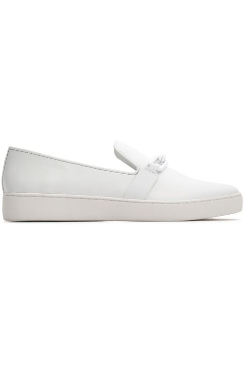 Michael Kors Collection Chain-Trimmed Leather Slip-On Sneakers - White