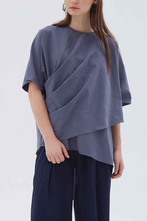 Shopatvelvet Savoy Top Blue Gray