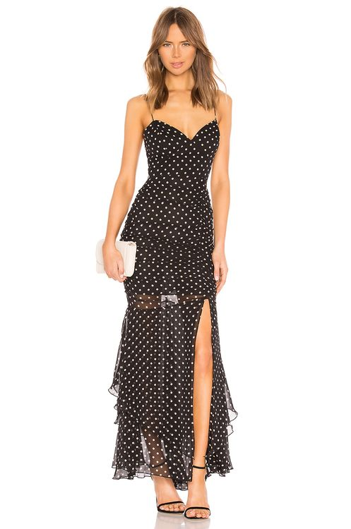 1b898983f656 Nicholas. Polka Dot Drawstring Layered Gown