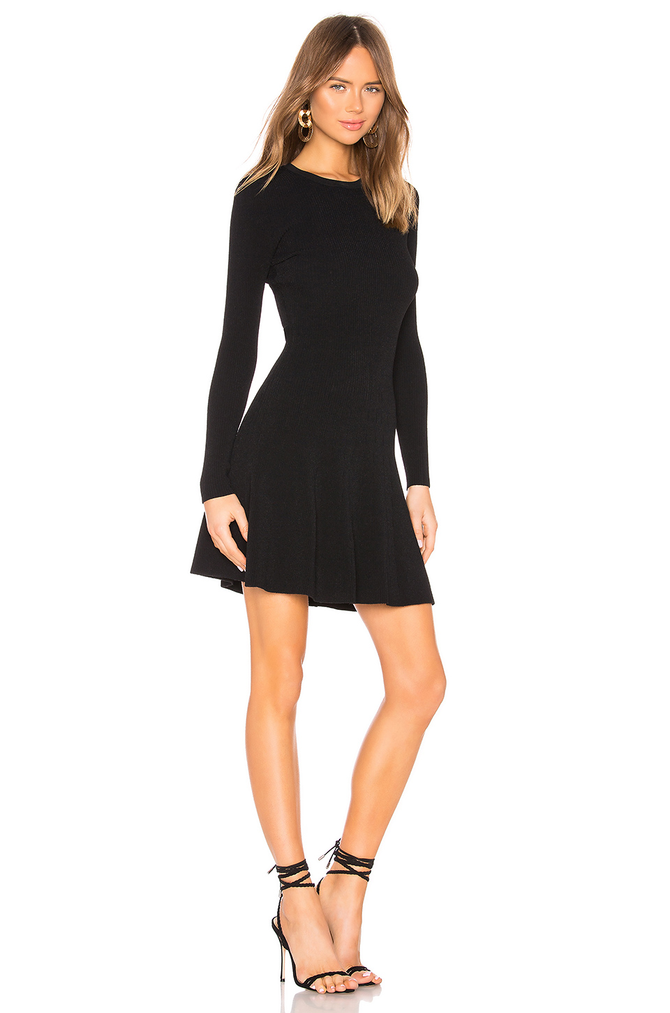 Autumn Cashmere Flare Ribbed Stitch Dress