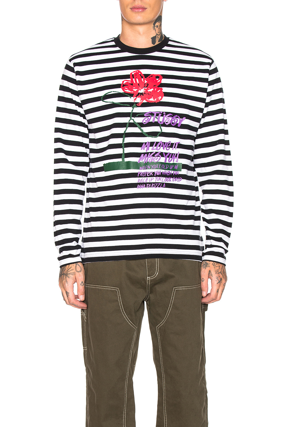 Stussy Flower Stripe Long Sleeve Crew