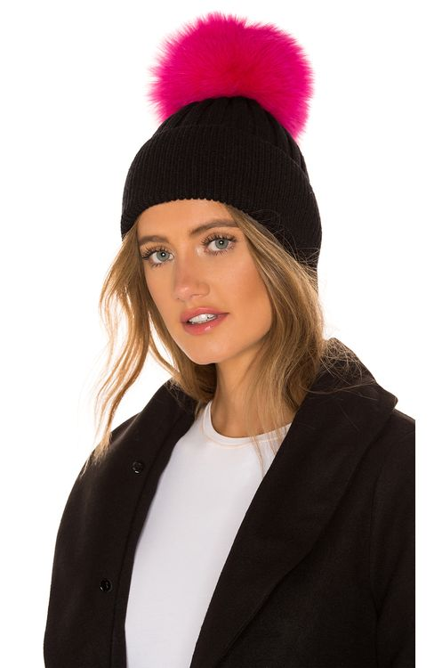 Jocelyn Knit Hat With Fox Fur Pom