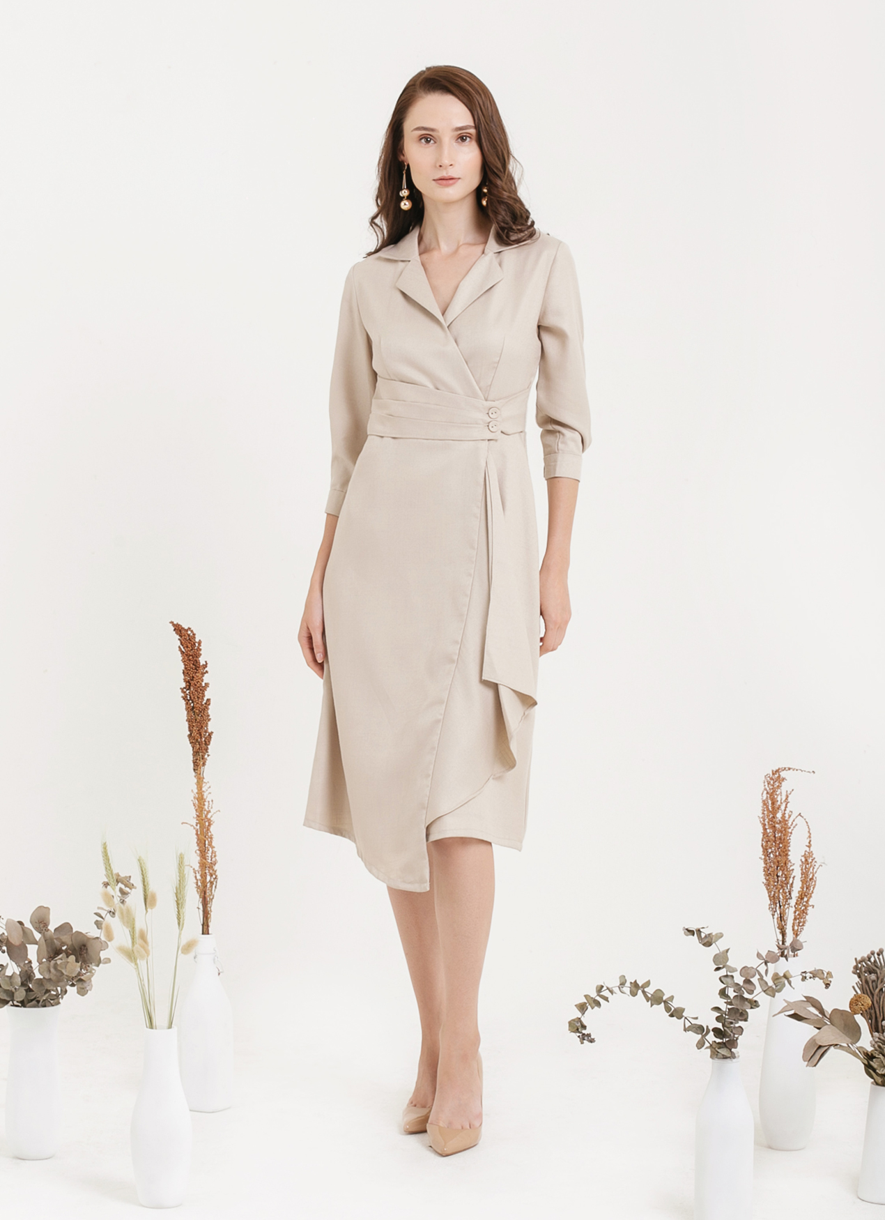 CLOTH INC Overlap Drapery Midi Dress - Light Beige