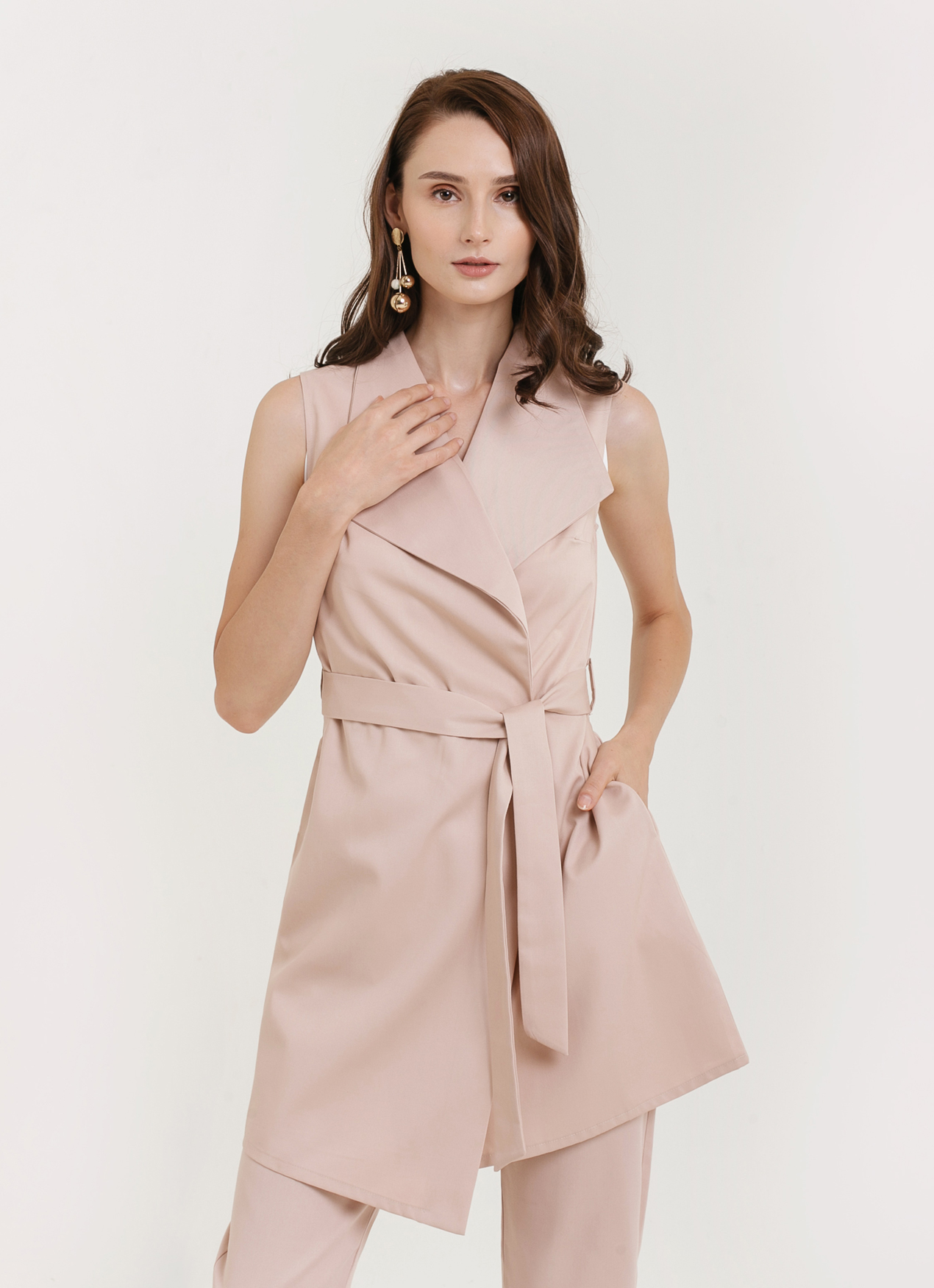 CLOTH INC Azure Vest - Dusty Pink