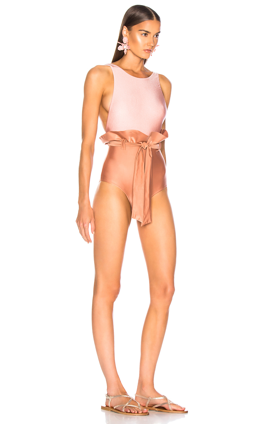 ADRIANA DEGREAS Bicolor Clochard Swimsuit With Straps