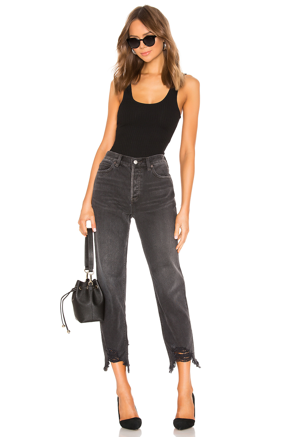 Free People Chewed Up Midrise Straight Jean