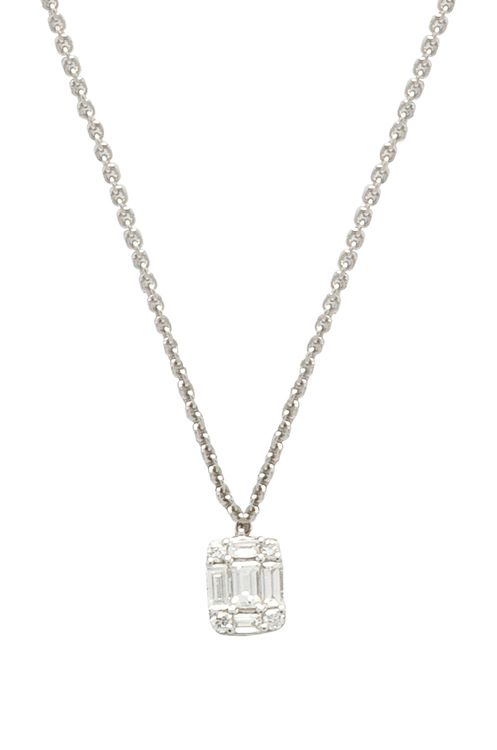 Sachi Baguette Solitaire Necklace