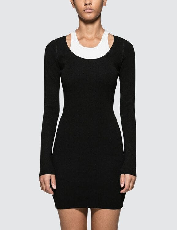 Alexander Wang.T Bodycon Basics Bi-layer Long Sleeve Mini Dress