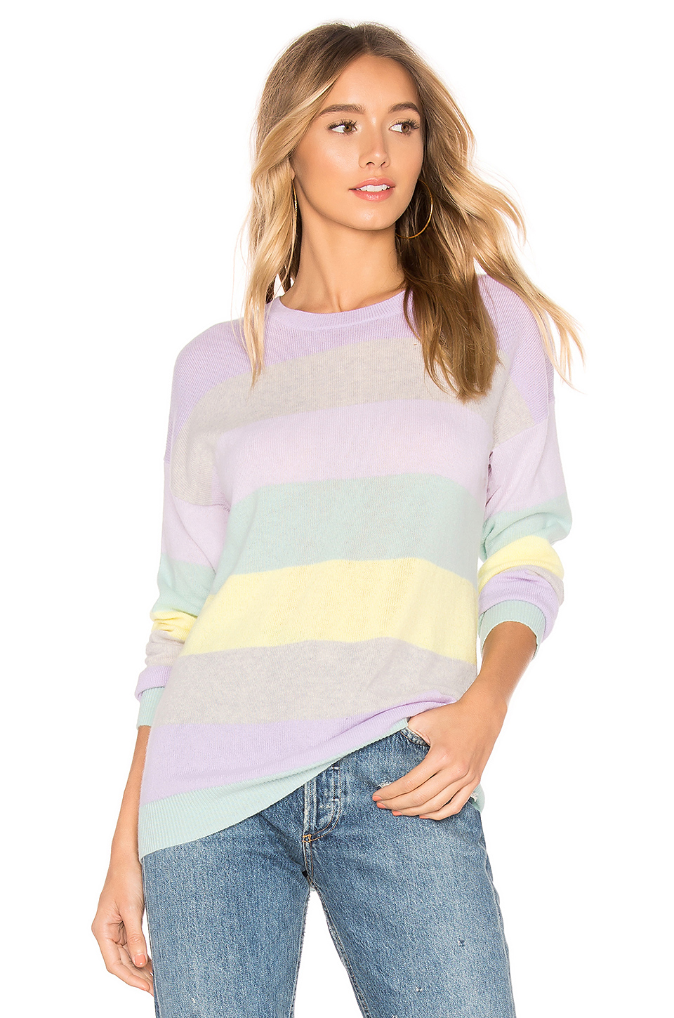 Autumn Cashmere Rainbow Stripe Boyfriend Sweater