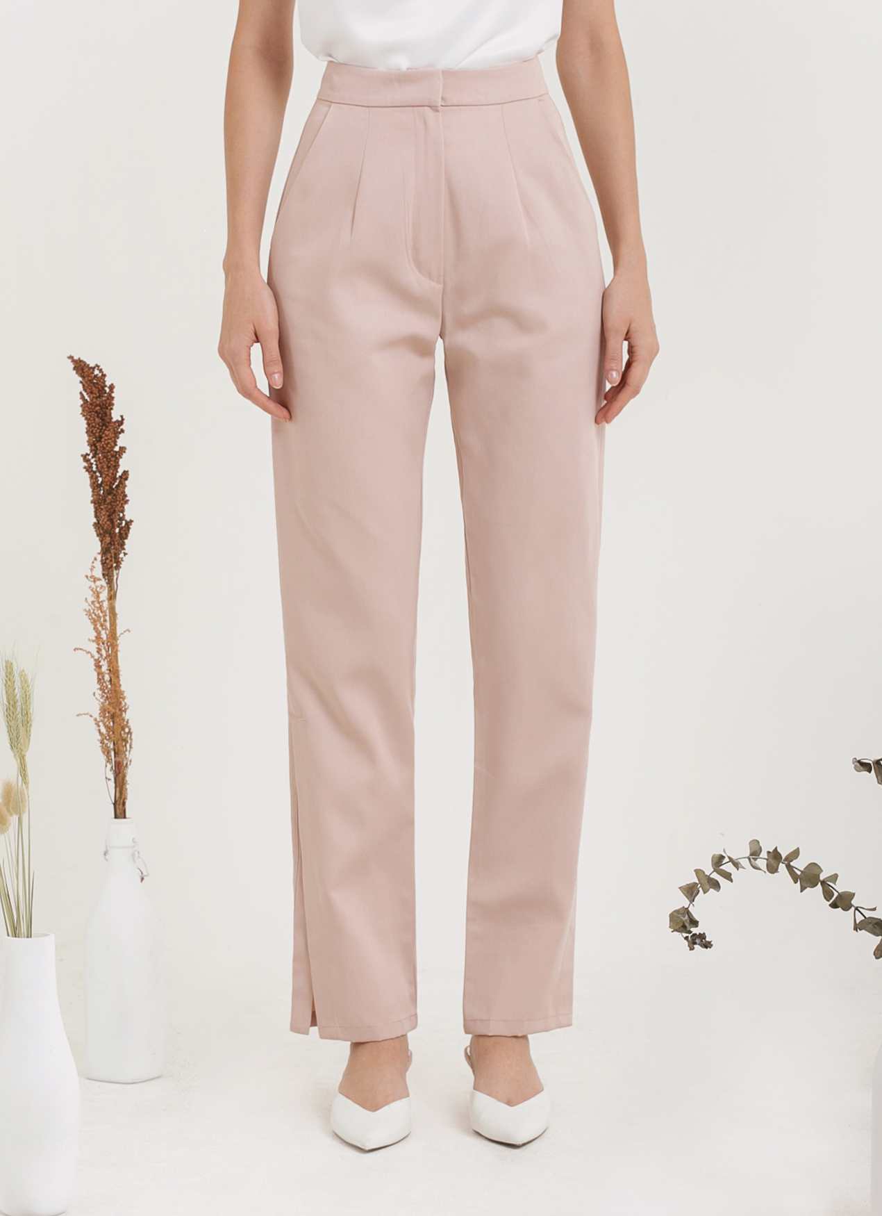 CLOTH INC Kato Slit Pants - Dusty Pink