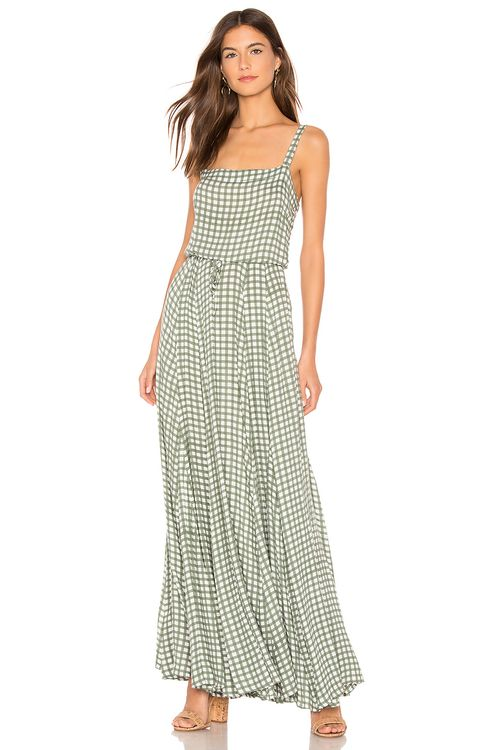AUGUSTE Gingham Paneled Maxi Dress