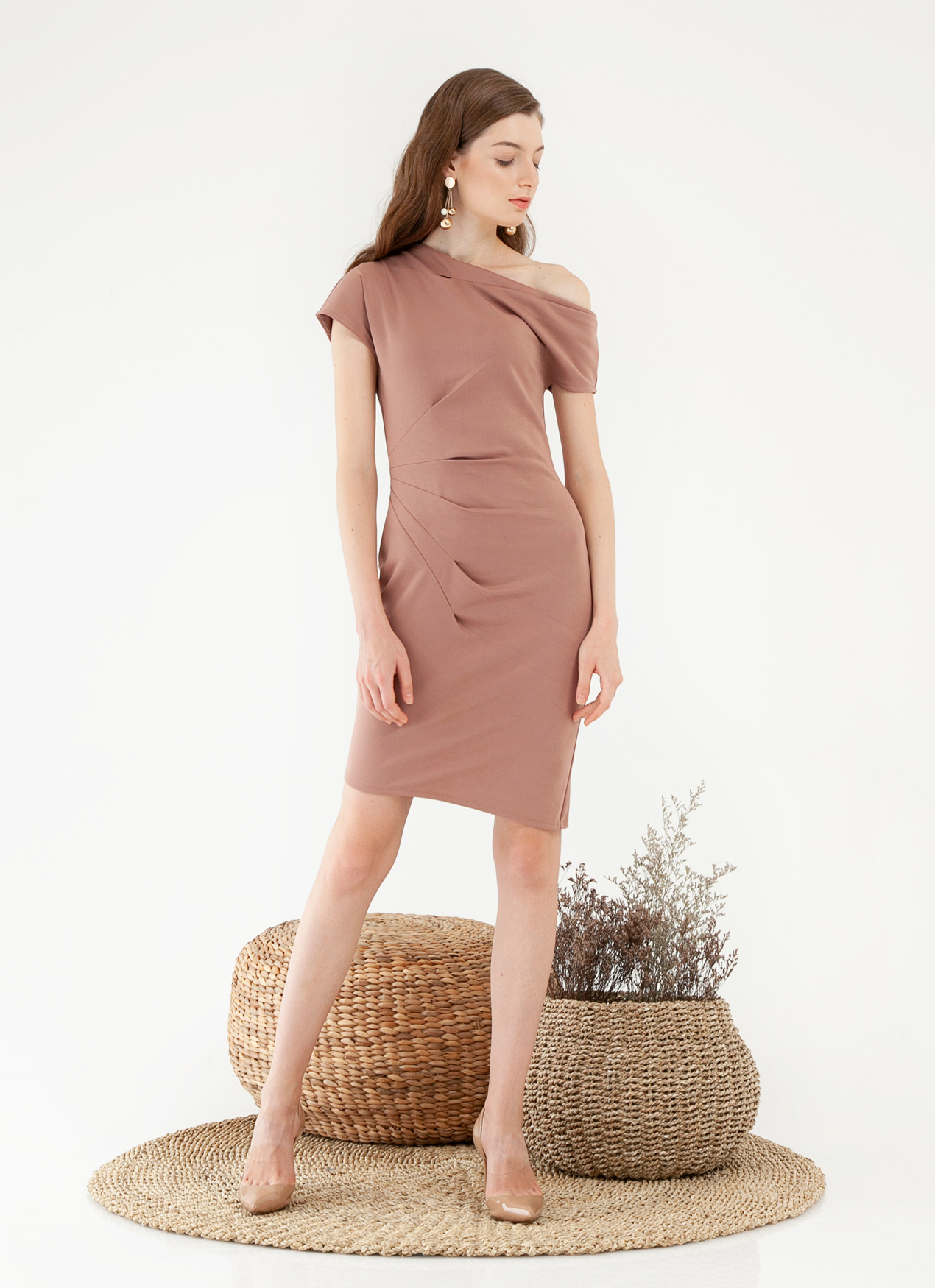 CLOTH INC Micah Pleat Dress - Clay Pink