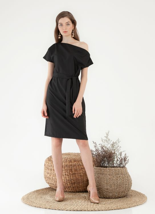 CLOTH INC One Shoulder Tied Shift Dress - Black