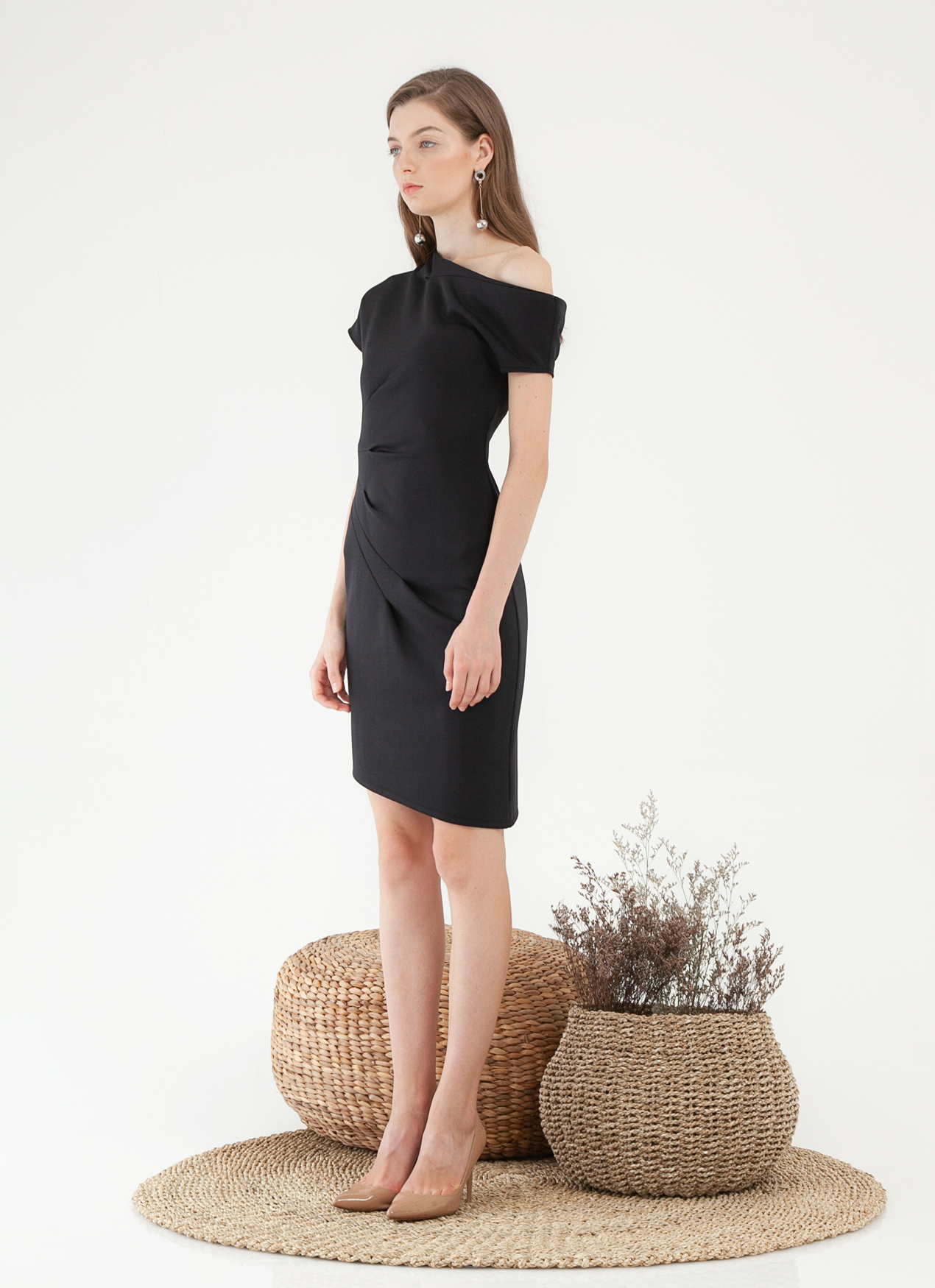 CLOTH INC Micah Pleat Dress - Black