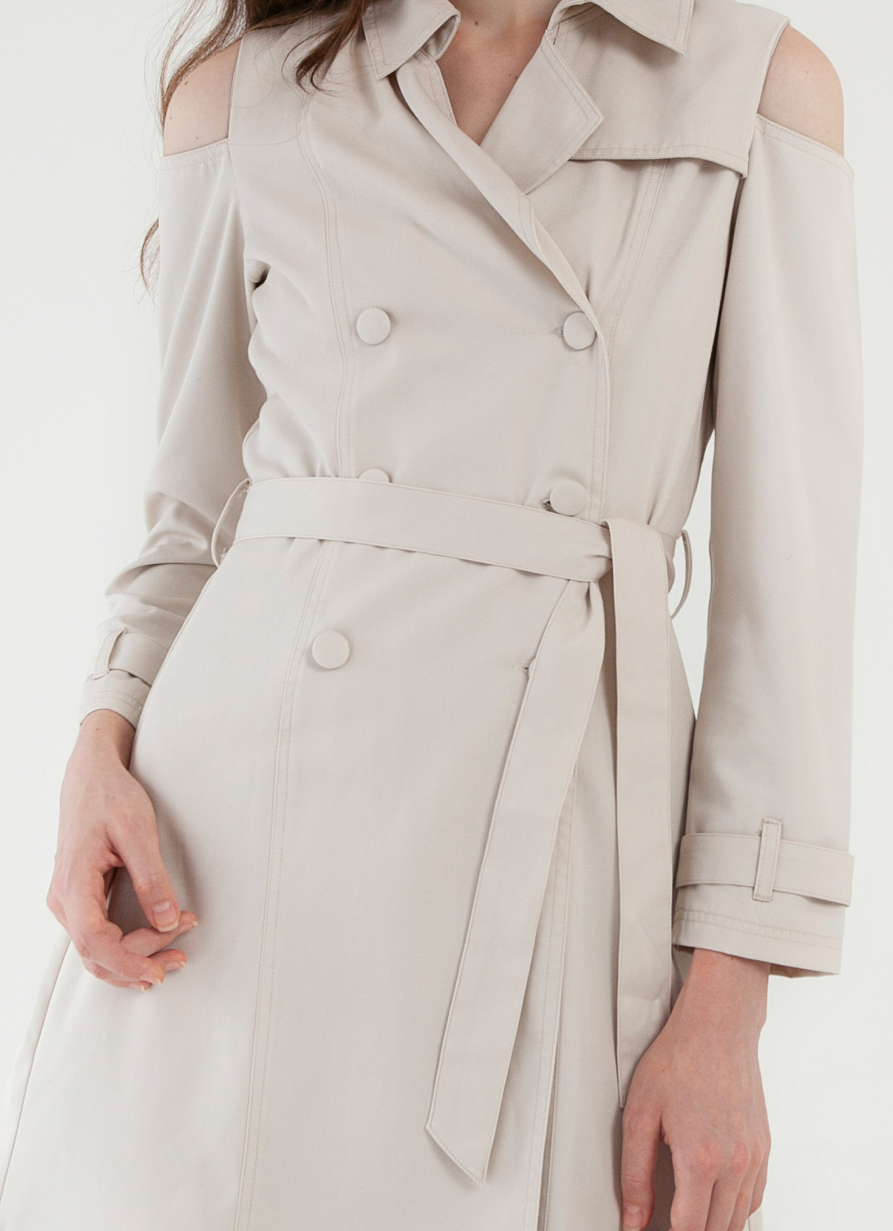CLOTH INC Cold Shoulder Coat - Creme