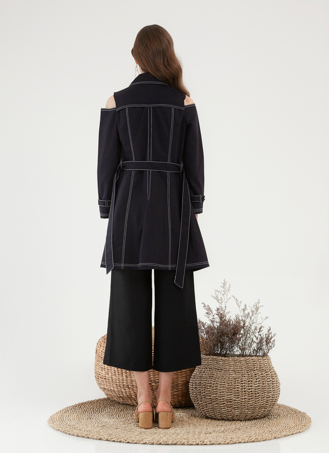 CLOTH INC Cold Shoulder Coat - Navy