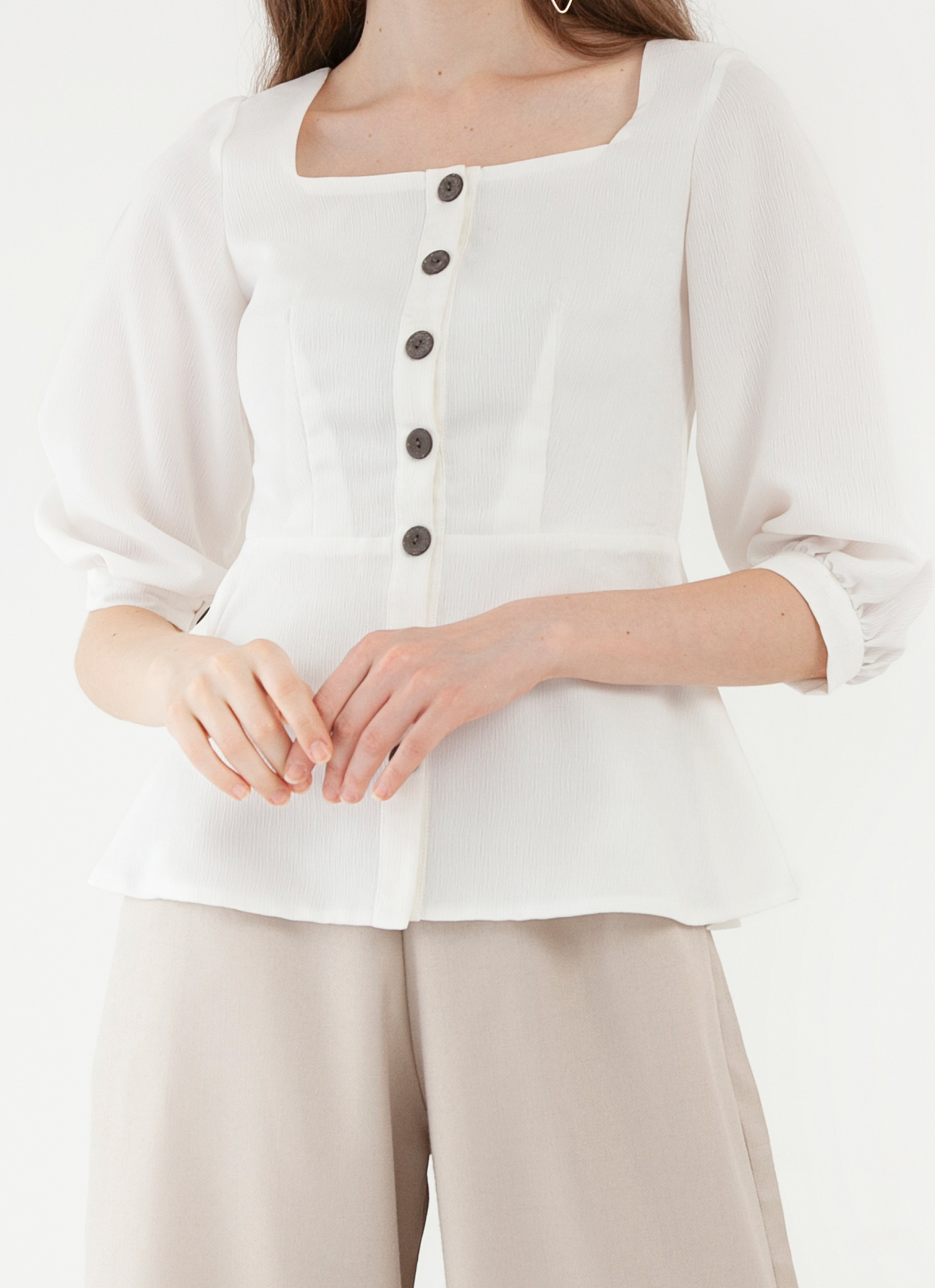 CLOTH INC Sora Button Top - White