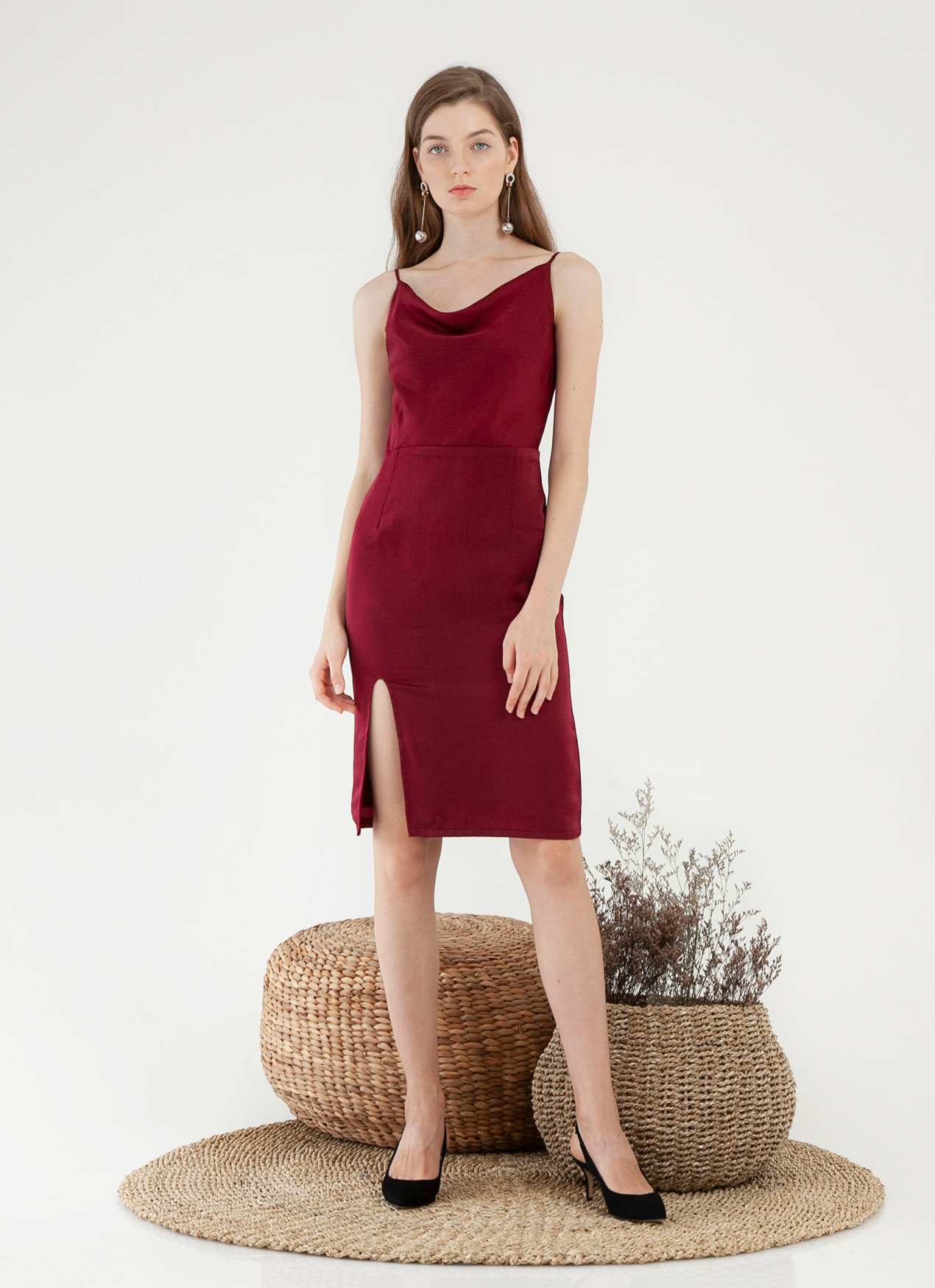 CLOTH INC Drapery Slit Dress - Maroon