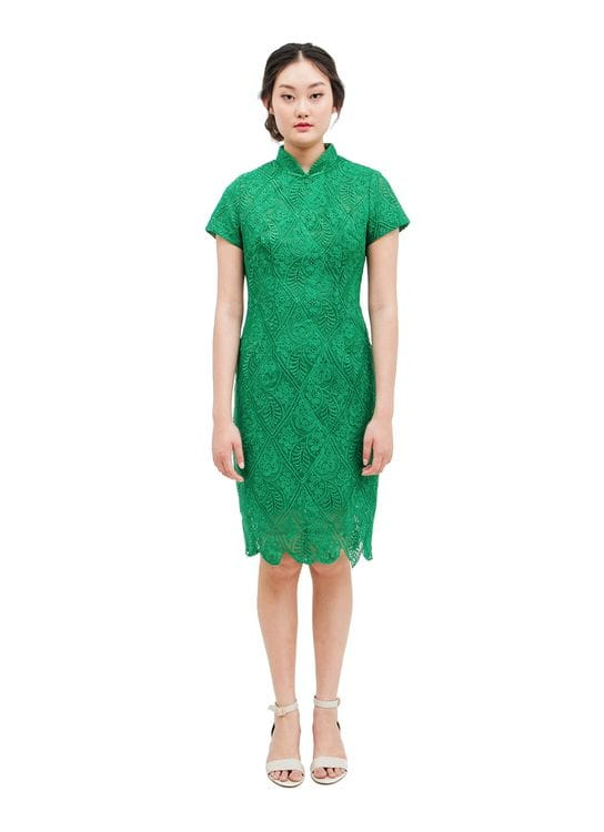 Mandarin Peony Cheongsam Moss Dress - Green