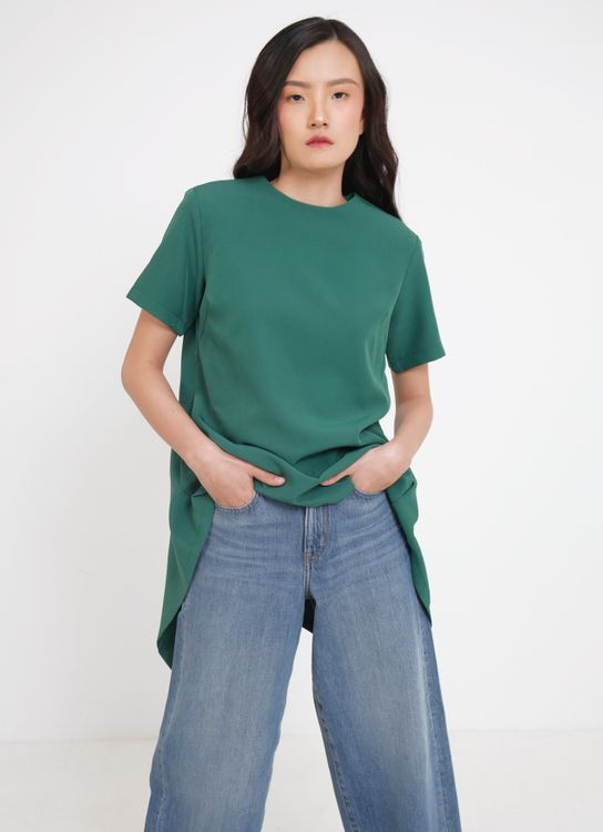 Seam Margo Handkerchief Top - Emerald Green