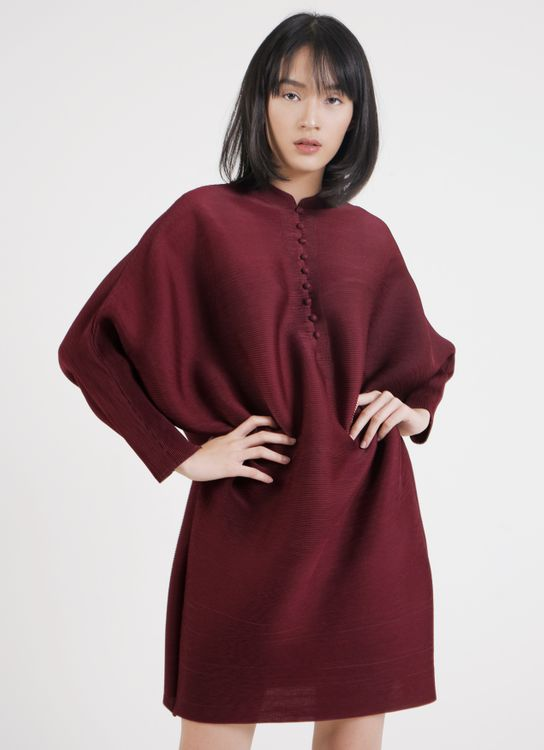 BOWN Nicole Pleated Dress - Maroon