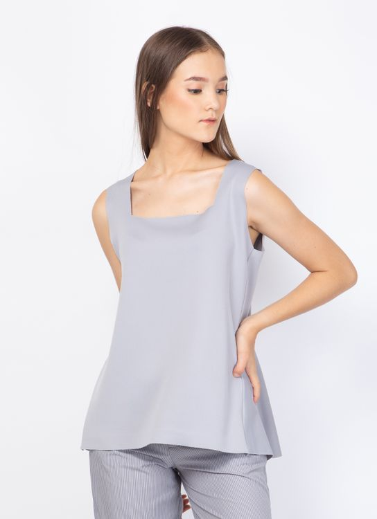 Basic by Komma Ep.02.025 Sleeveless Top - Gray