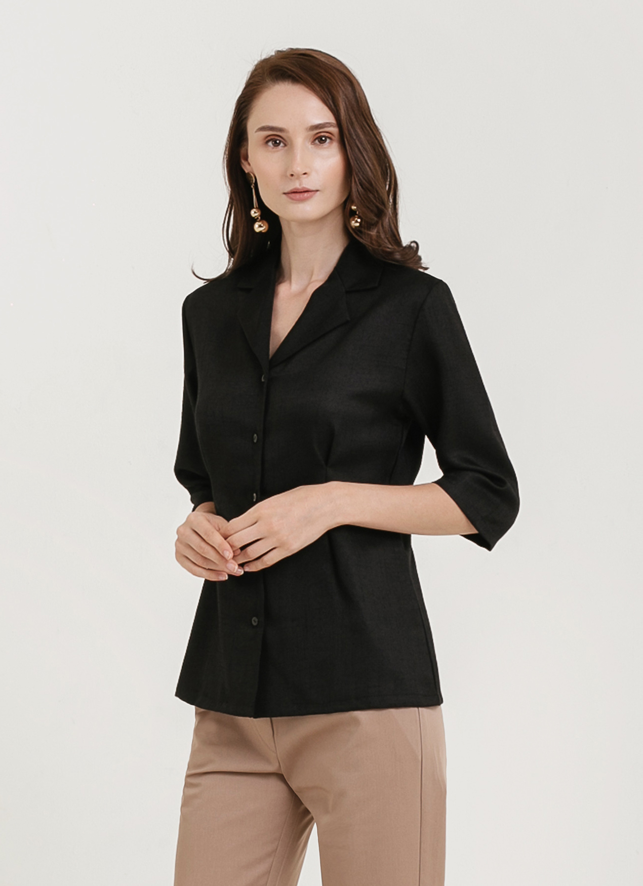 CLOTH INC Linen Collar Shirt - Black