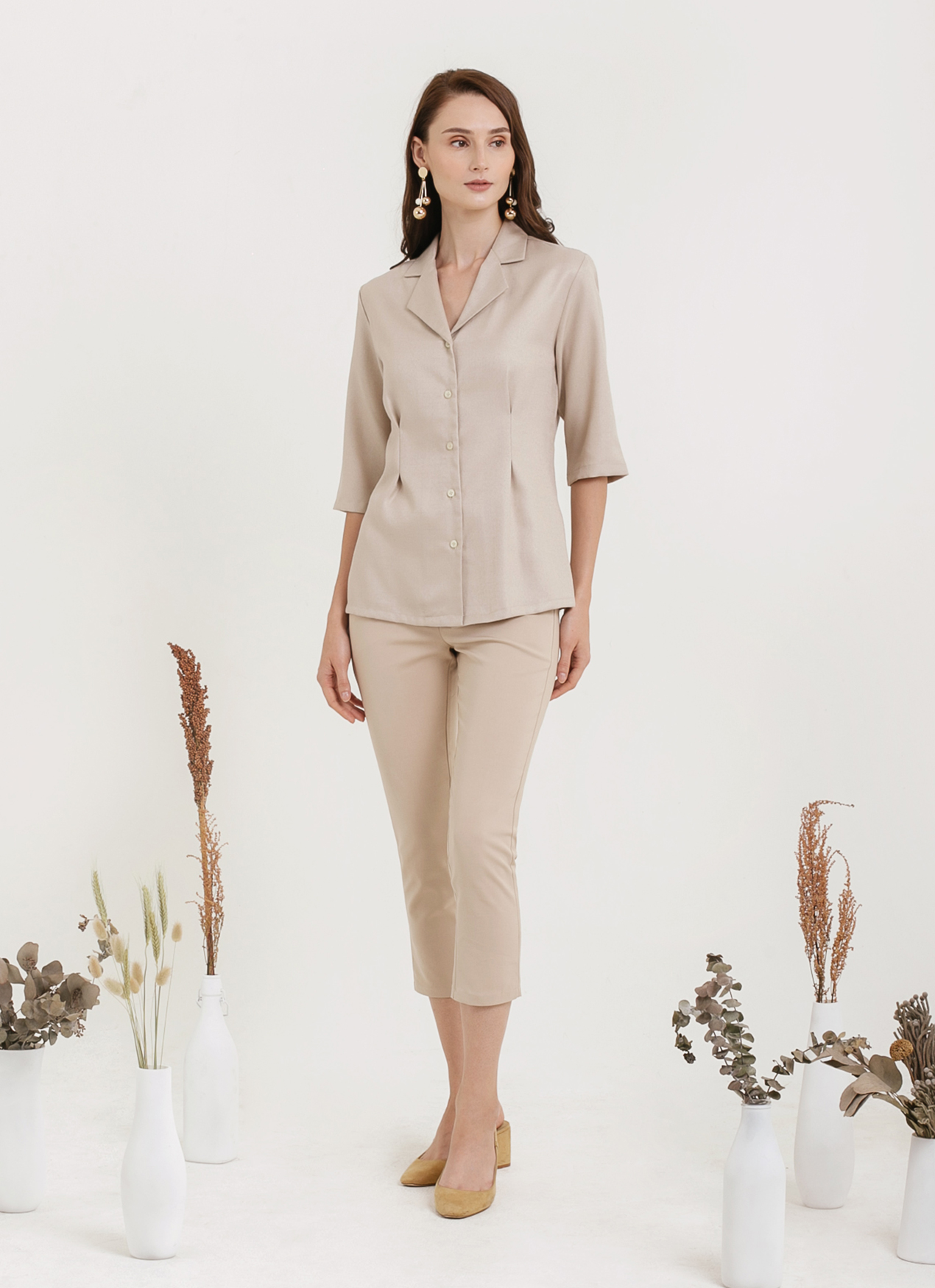 CLOTH INC Linen Collar Shirt - Light Beige
