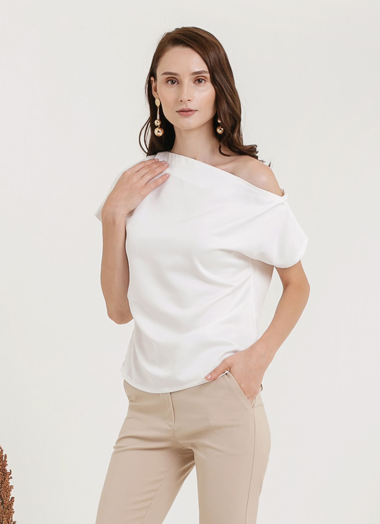 CLOTH INC Sabina One Shoulder Top -  White