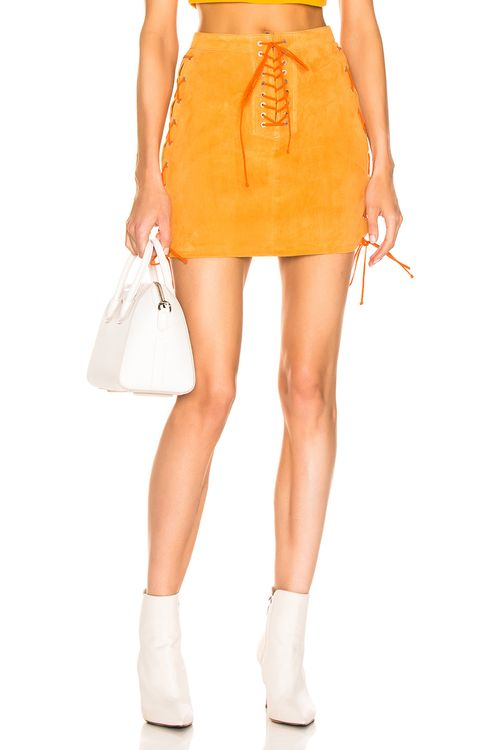 Unravel Suede Side Lace Up Skirt