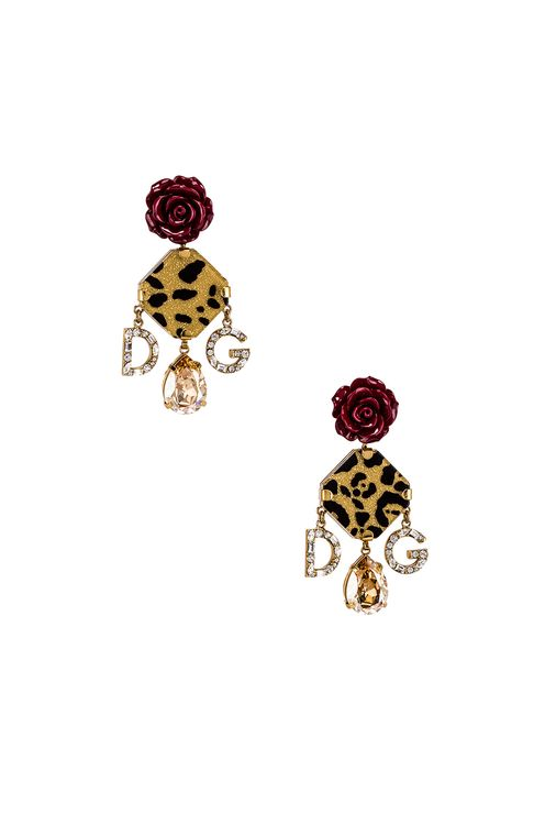Dolce & Gabbana Leo & Roses Crystal Logo Earrings