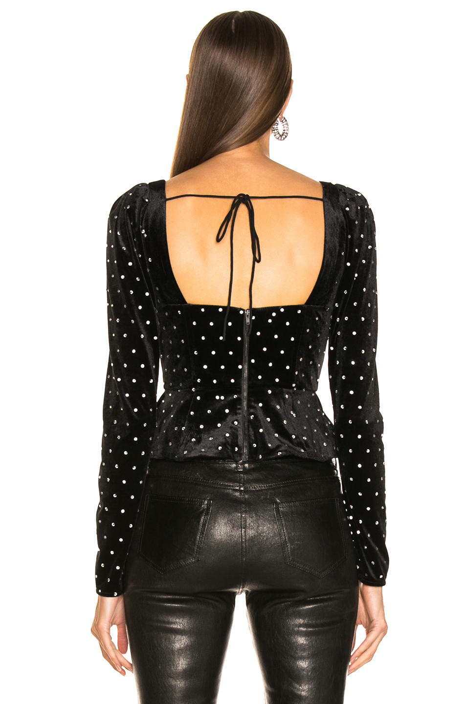 self-portrait Asymmetric Velvet Diamante Top