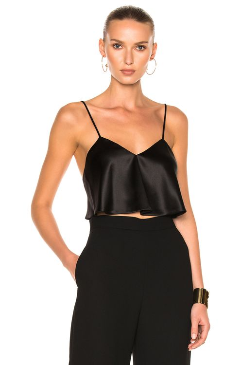 Brandon Maxwell Satin Crop Camisole Top